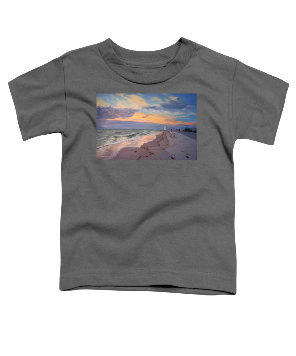 Seascape Toddler T-Shirt featuring the painting Walking On The Beach At Sunset by Lea Novak
