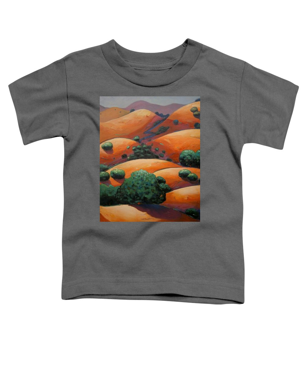 California Landscape Toddler T-Shirt featuring the painting Warm Afternoon Light On Ca Hillside by Gary Coleman