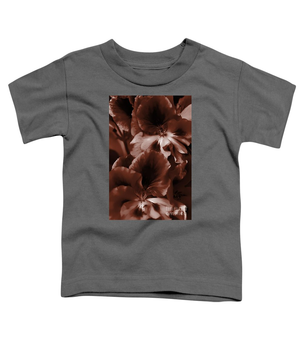 Clay Toddler T-Shirt featuring the photograph Warm Tone Monochrome Floral Art by Clayton Bruster
