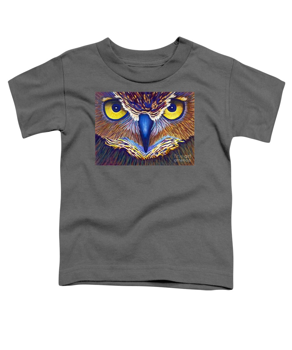 Owl Toddler T-Shirt featuring the painting Watching by Brian Commerford