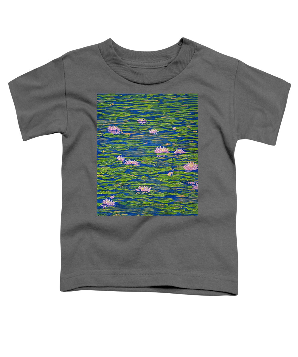 Lotuses Toddler T-Shirt featuring the drawing Water Lily Flowers Happy Water Lilies Fine Art Prints Giclee High Quality Impressive Color Lotuses by Baslee Troutman