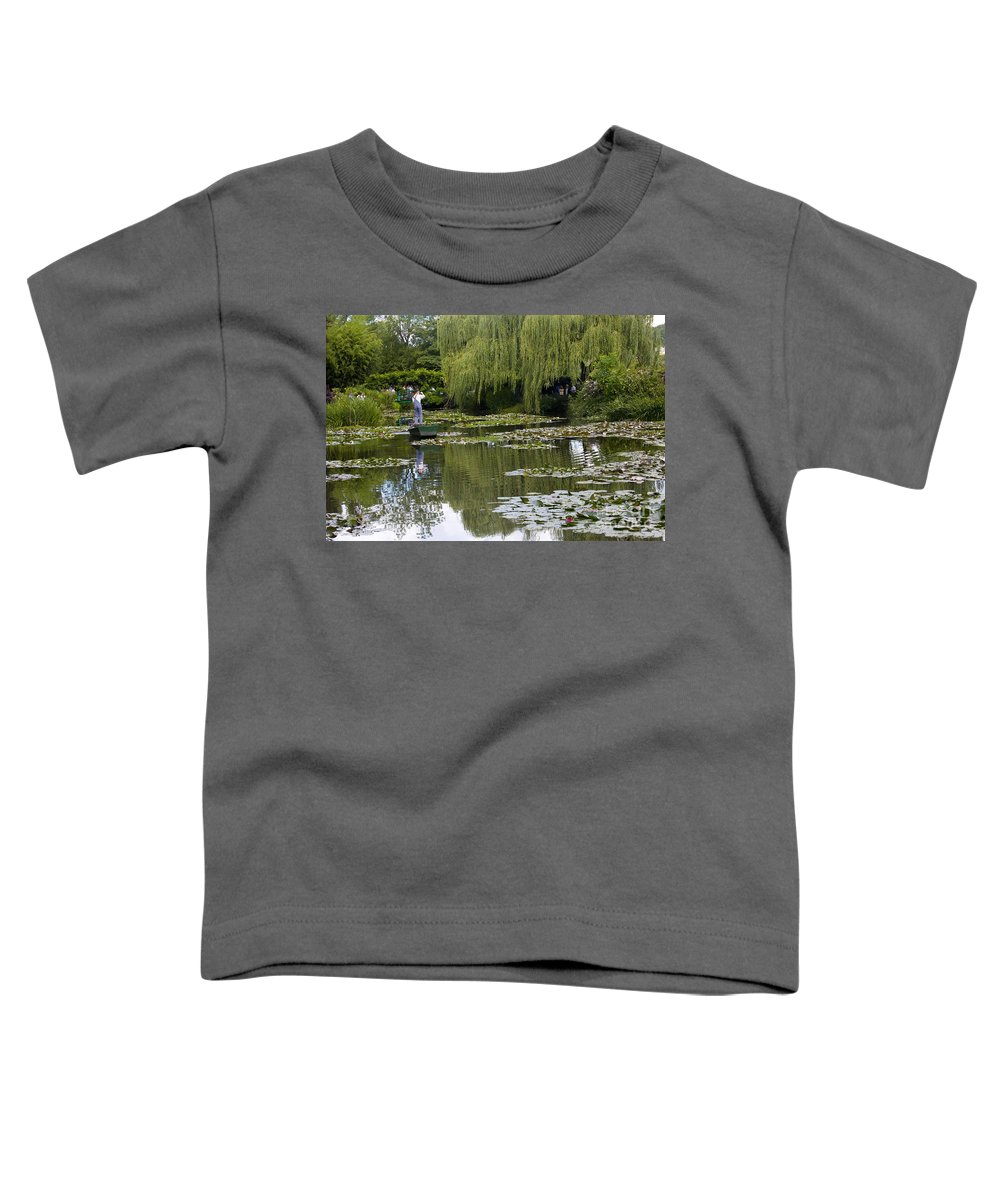 Monet Gardens Giverny France Water Lily Punt Boat Water Willows Toddler T-Shirt featuring the photograph Water Lily Garden Of Monet In Giverny by Avalon Fine Art Photography