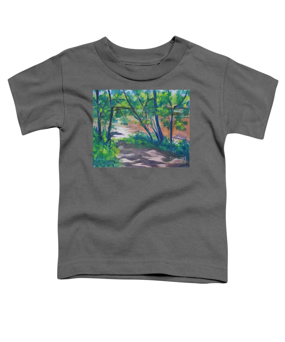 Landscape Toddler T-Shirt featuring the painting Watercress Beach On The Current River  by Jan Bennicoff