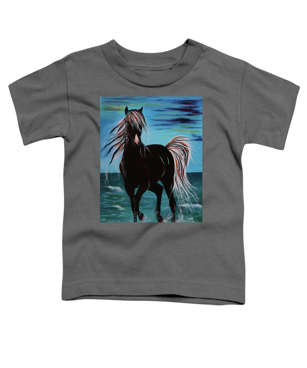 Horse Toddler T-Shirt featuring the painting Waterhorse by Nicole Paquette