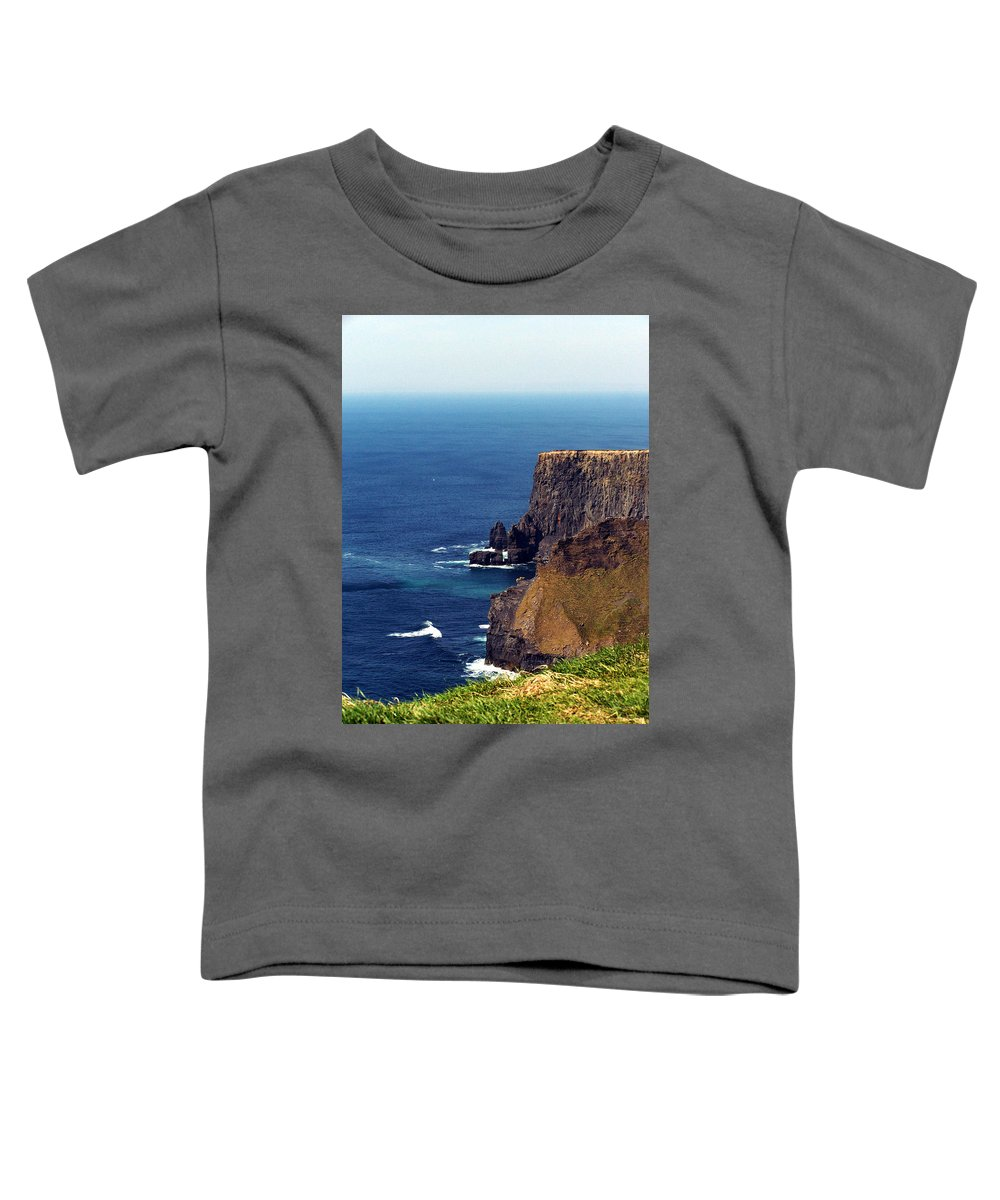 Irish Toddler T-Shirt featuring the photograph Waves Crashing At Cliffs Of Moher Ireland by Teresa Mucha
