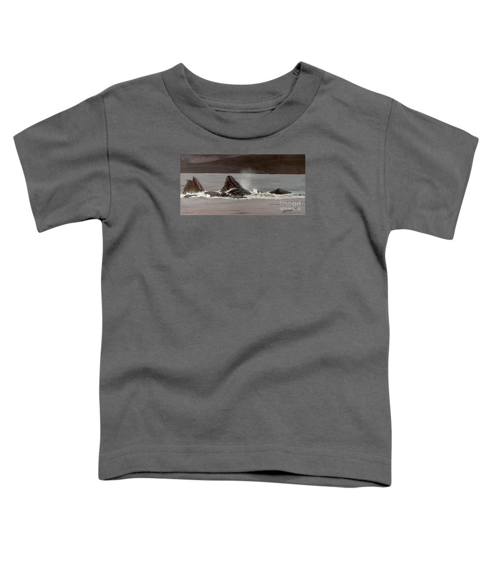 Whale Toddler T-Shirt featuring the painting Whales Feeding by Shawn Stallings