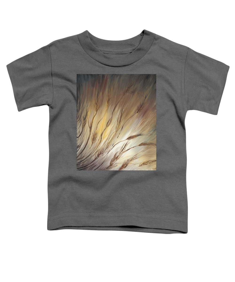 Wheat Toddler T-Shirt featuring the painting Wheat In The Wind by Nadine Rippelmeyer