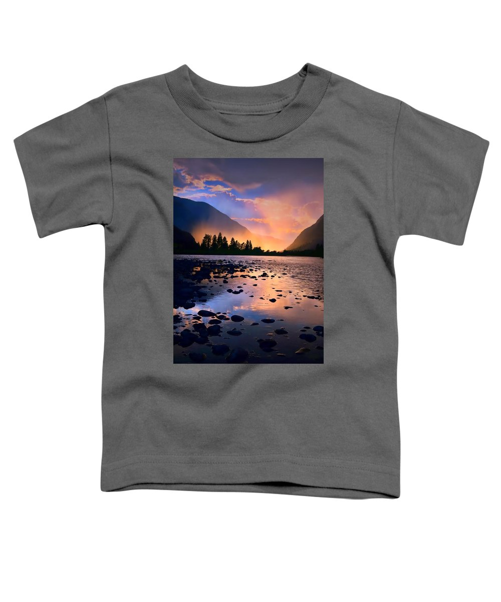Rocks Toddler T-Shirt featuring the photograph When The Rain Falls And The Sun Sets by Tara Turner
