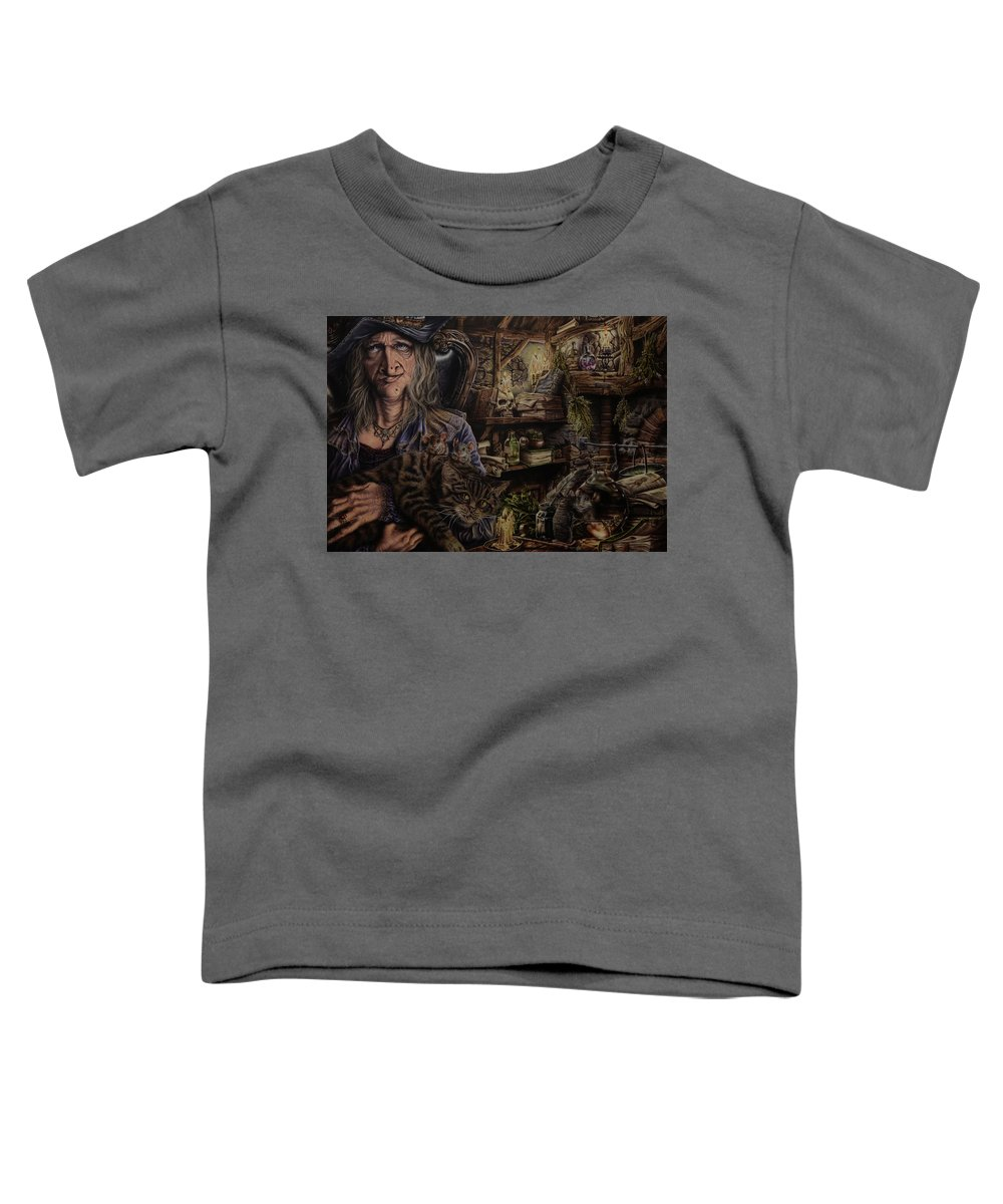 Fantasy Toddler T-Shirt featuring the painting Which witch is which by Robert Haasdijk