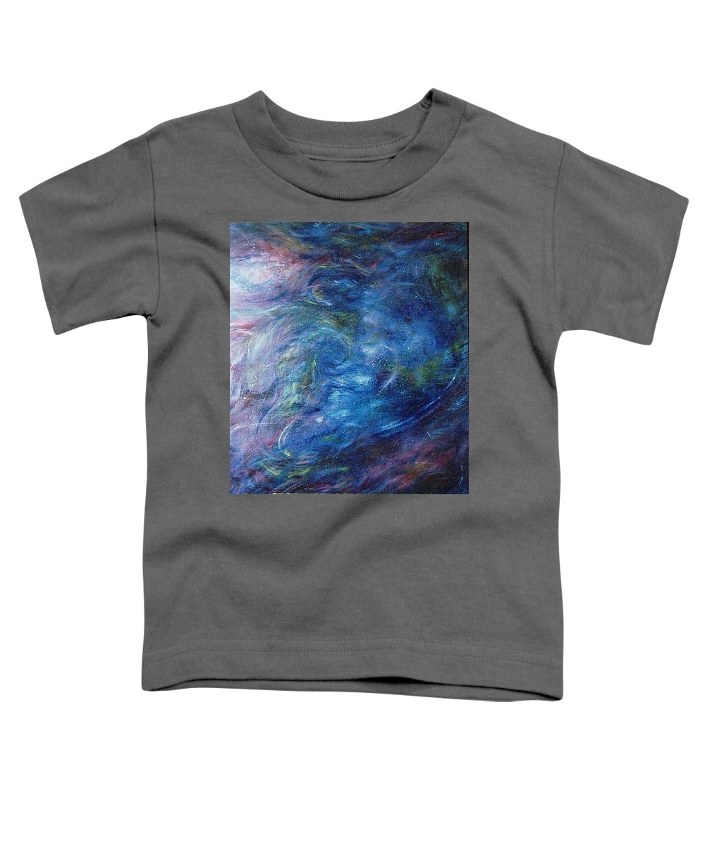 Abstract Toddler T-Shirt featuring the painting Whispers In A Sea Of Blue by Nancy Mueller