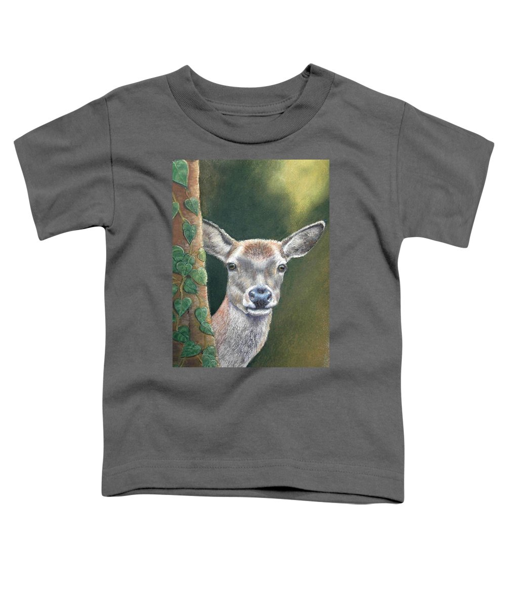 Rainforest Toddler T-Shirt featuring the painting White Tail Doe At Ancon Hill by Ceci Watson