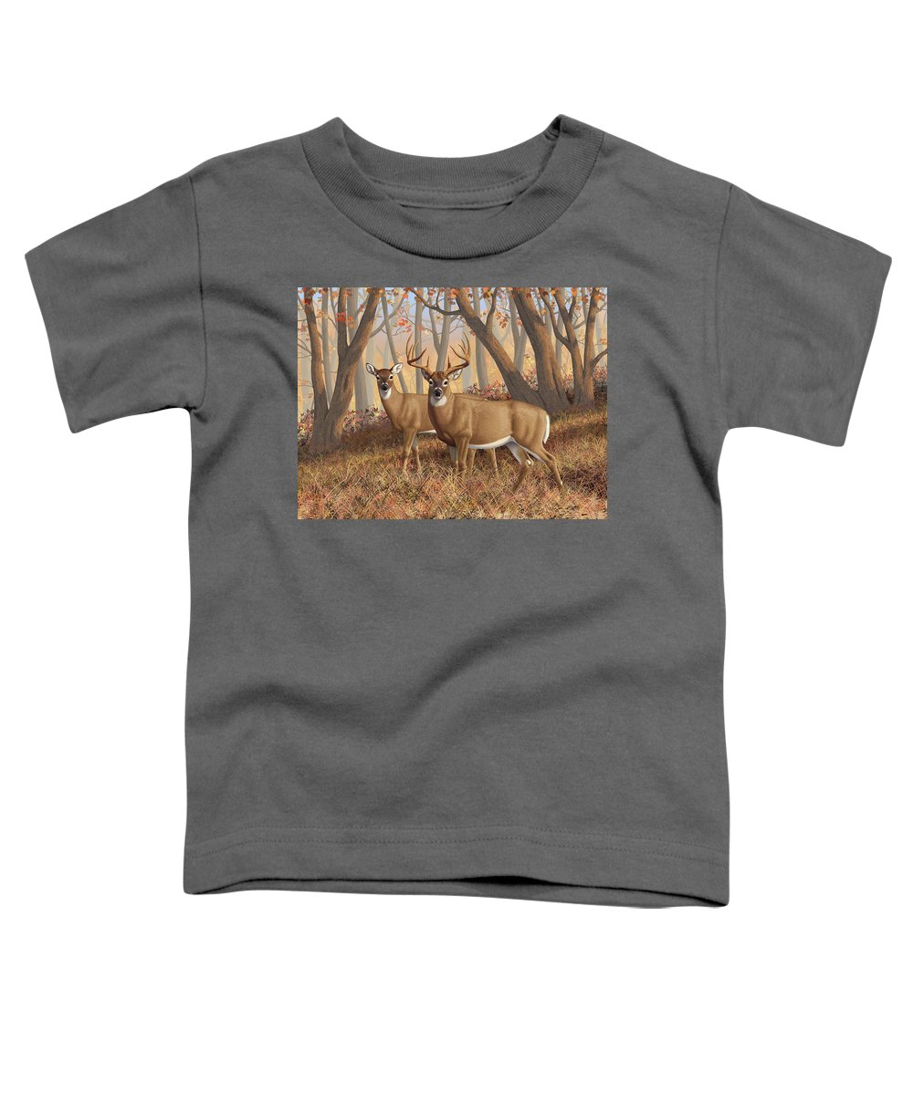 Deers Toddler T-Shirt featuring the digital art Whitetail Deer Painting - Fall Flame by Crista Forest