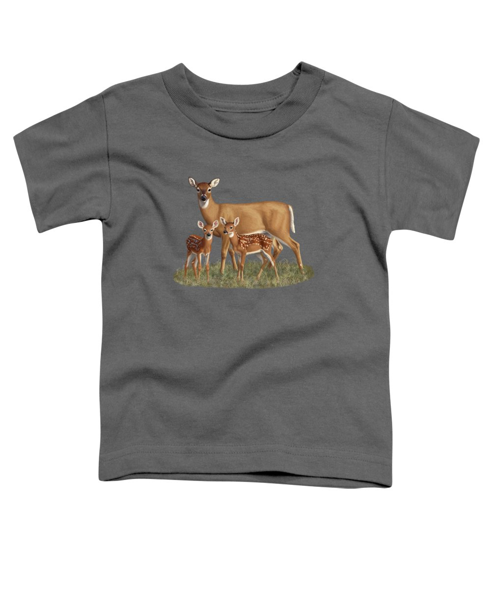 Whitetail Deer Toddler T-Shirt featuring the painting Whitetail Doe And Fawns - Mom's Little Spring Blossoms by Crista Forest