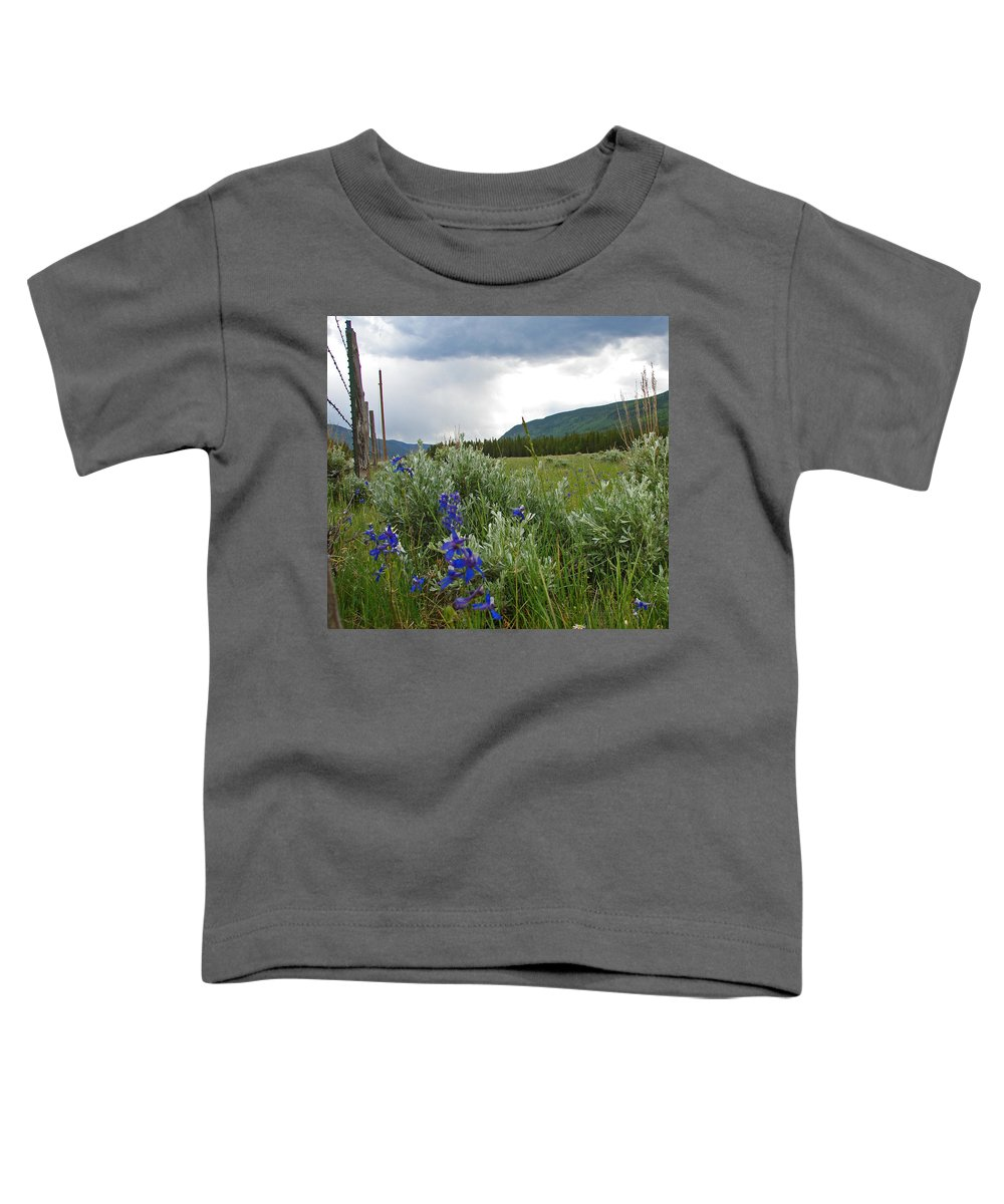 Wild Flowers Toddler T-Shirt featuring the photograph Wild Delphinium by Heather Coen
