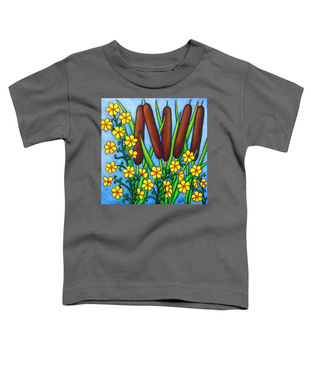 Cat Tails Toddler T-Shirt featuring the painting Wild Medley by Lisa Lorenz