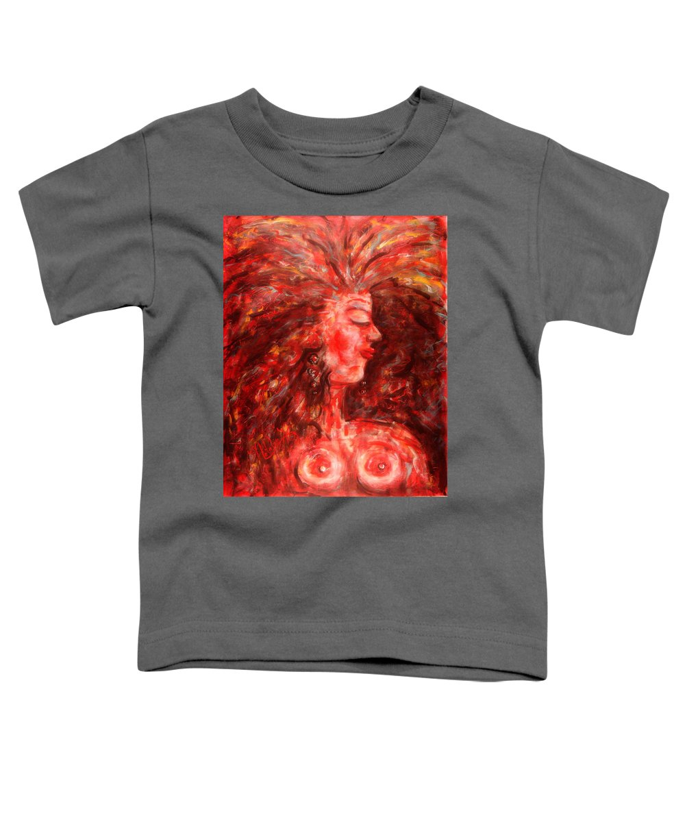 Female Toddler T-Shirt featuring the painting Wild One by Natalie Holland
