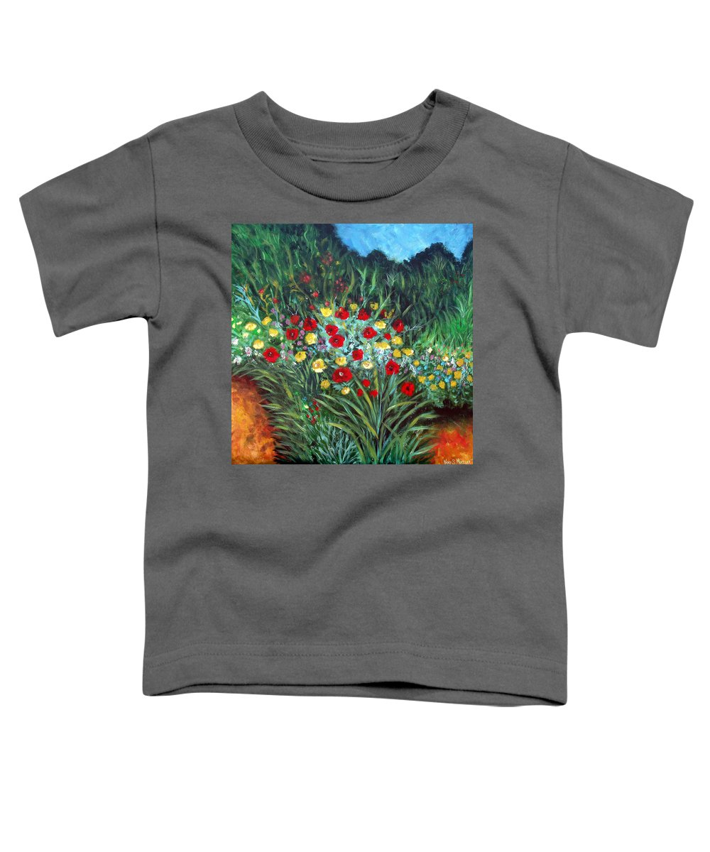 Abstract Toddler T-Shirt featuring the painting Wildflower Garden 1 by Nancy Mueller