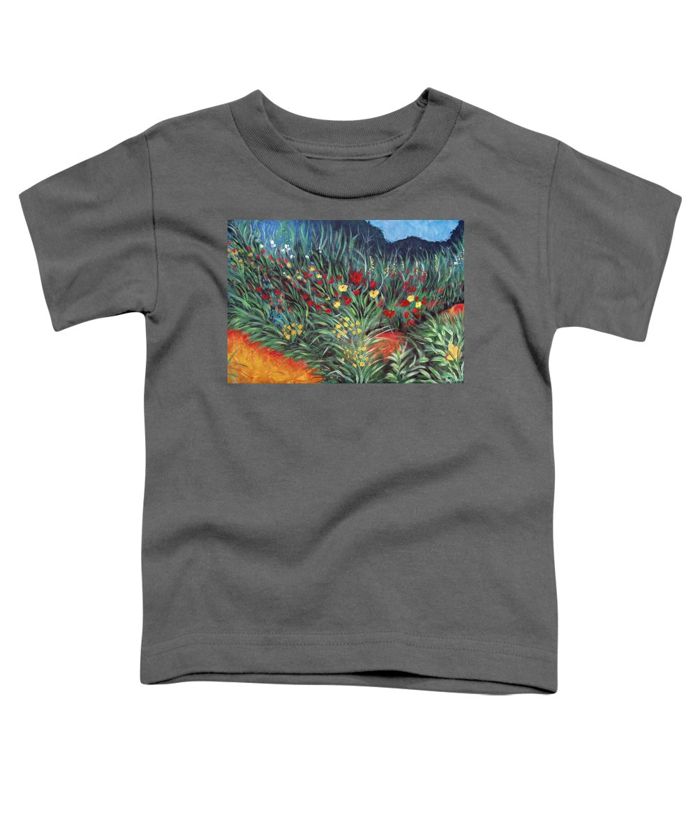 Landscape Toddler T-Shirt featuring the painting Wildflower Garden 2 by Nancy Mueller