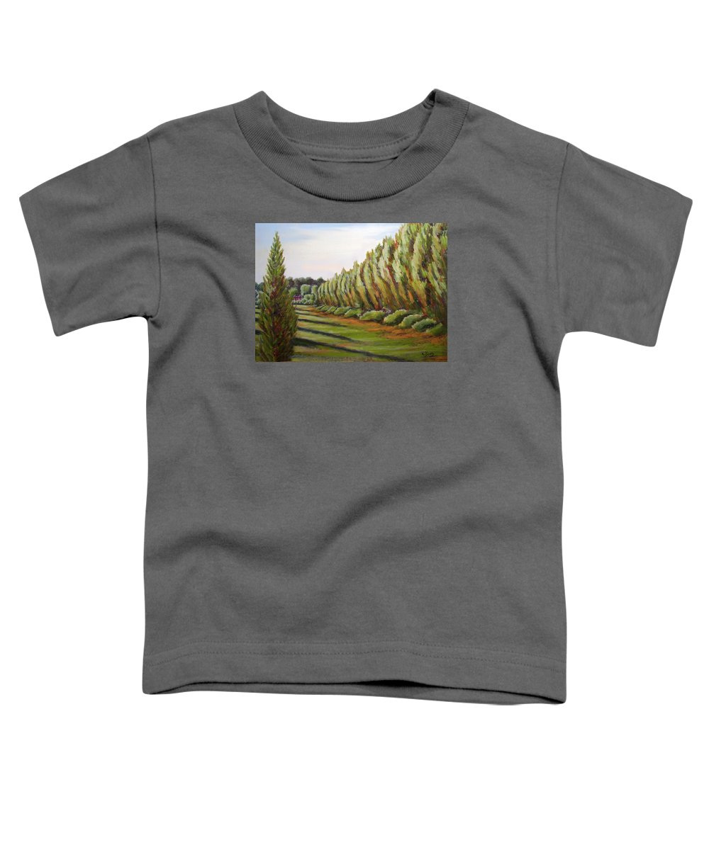 Oil Painting Toddler T-Shirt featuring the painting Windbreak Evening by Karla Beatty