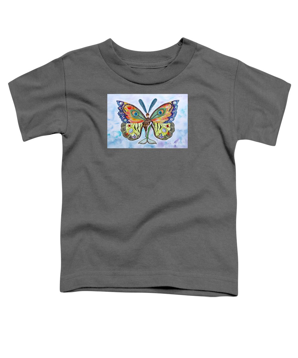 Butterfly Toddler T-Shirt featuring the painting Winged Metamorphosis by Lucy Arnold