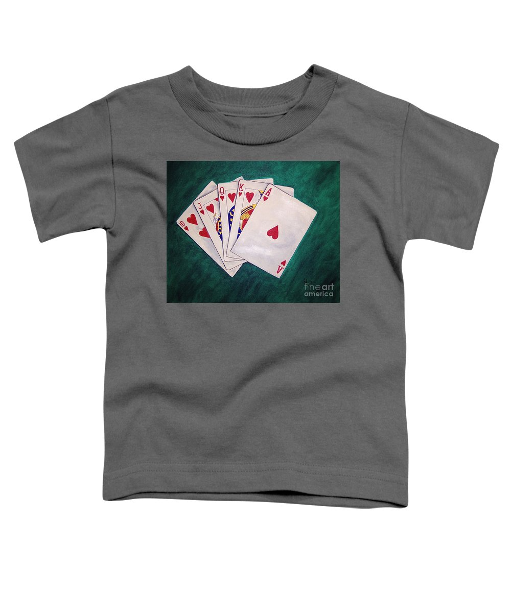 Playing Cards Wining Hand Role Flush Toddler T-Shirt featuring the painting Wining Hand 2 by Herschel Fall