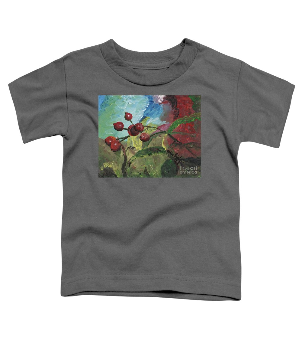 Berries Toddler T-Shirt featuring the painting Winter Berries by Nadine Rippelmeyer