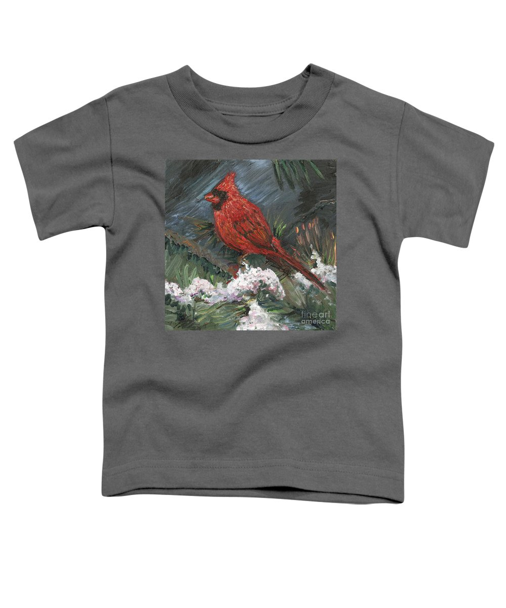 Bird Toddler T-Shirt featuring the painting Winter Cardinal by Nadine Rippelmeyer