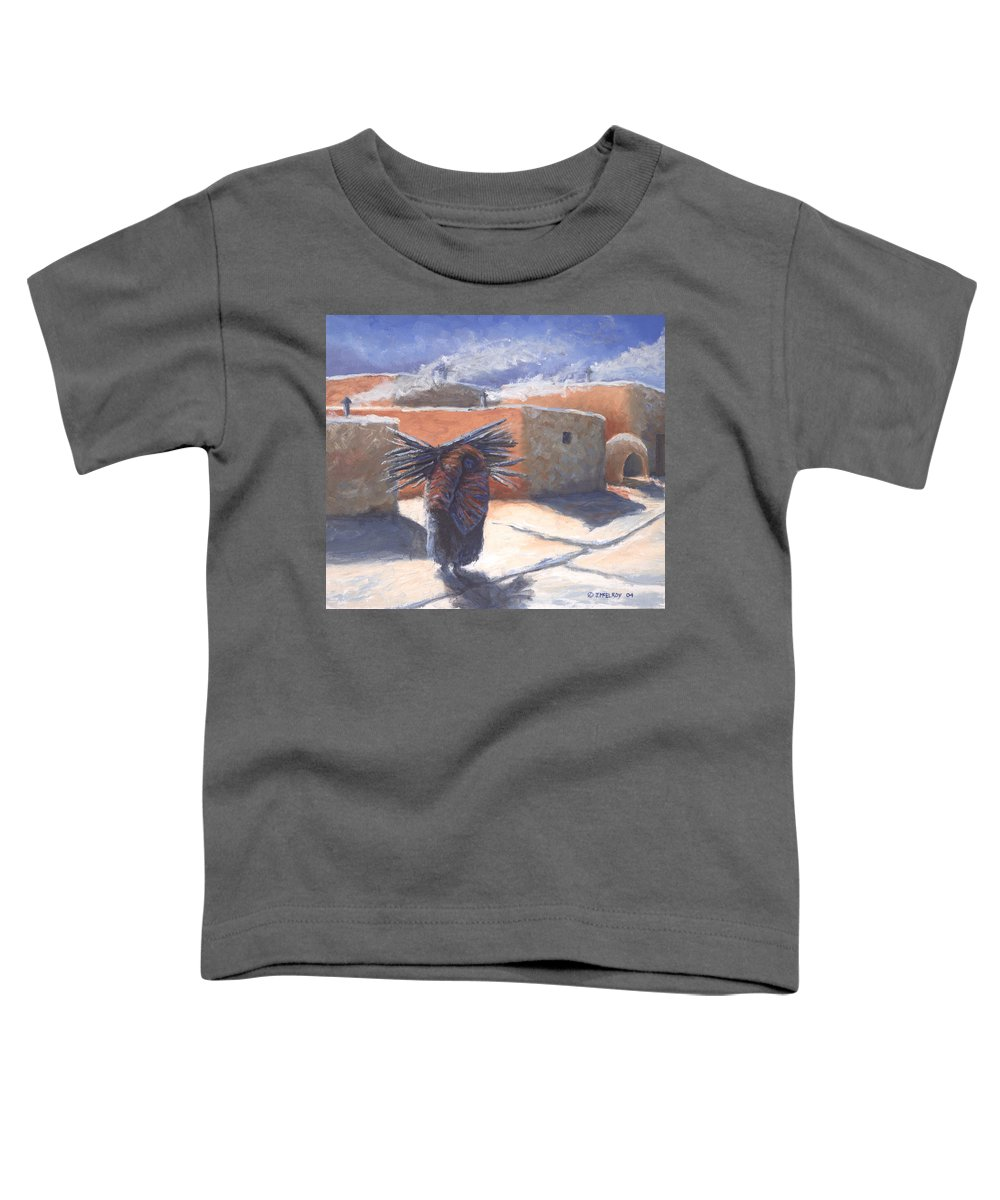 Adobe Toddler T-Shirt featuring the painting Winter's Work by Jerry McElroy