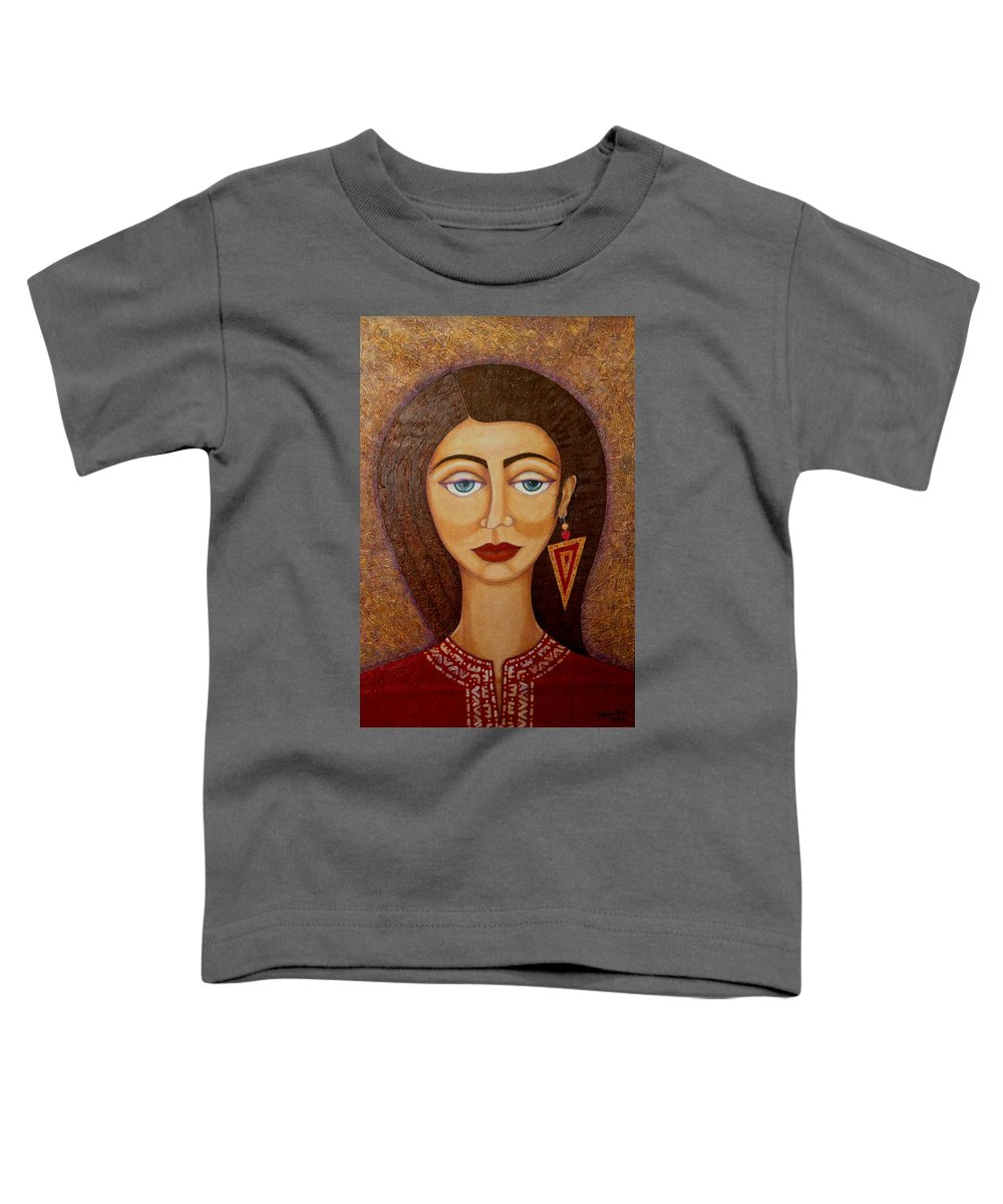 Market Toddler T-Shirt featuring the painting Woman S Market by Madalena Lobao-Tello