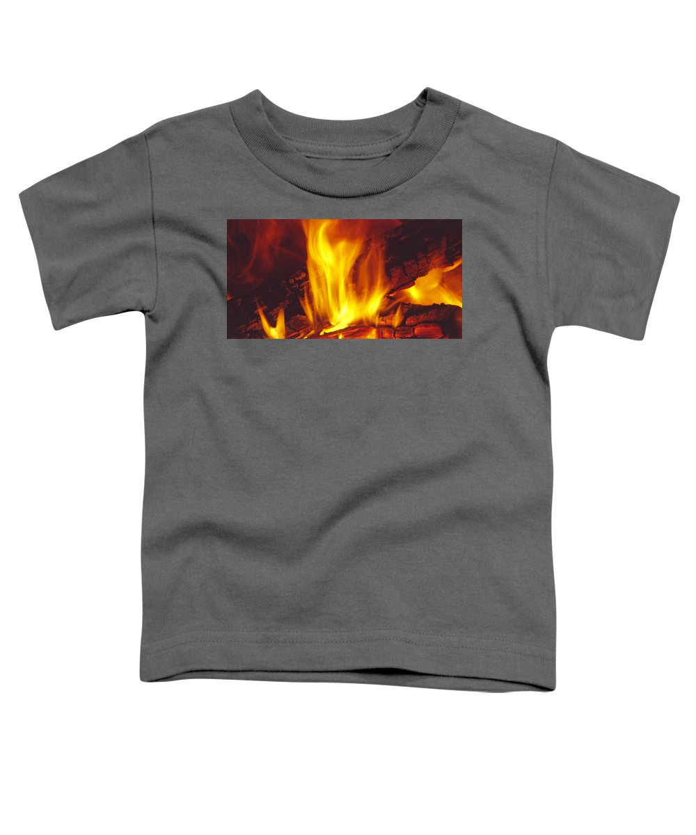 Fire Toddler T-Shirt featuring the photograph Wood Stove - Blazing Log Fire by Steve Ohlsen