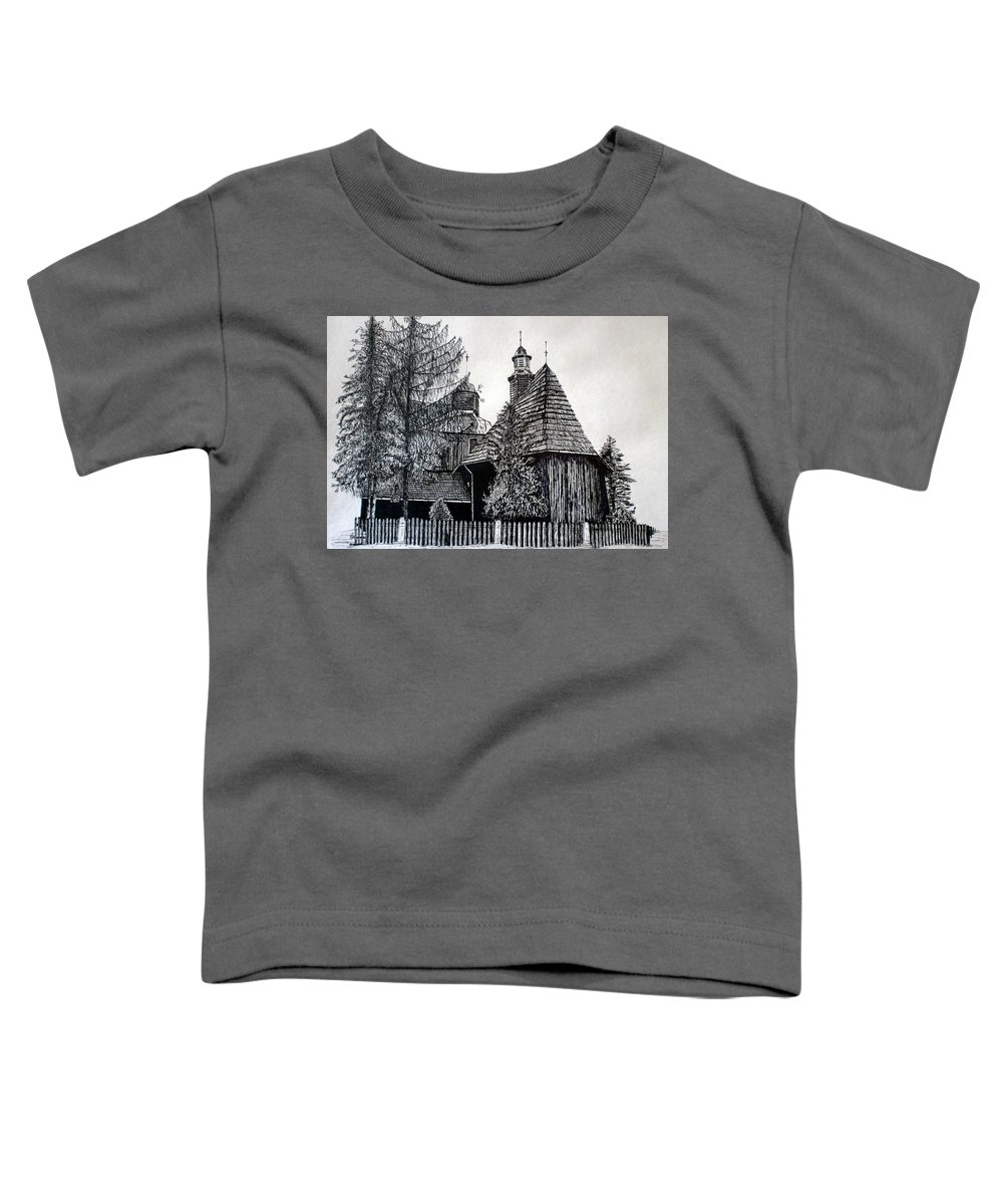 Drawing Toddler T-Shirt featuring the drawing Wooden Church by Maria Woithofer