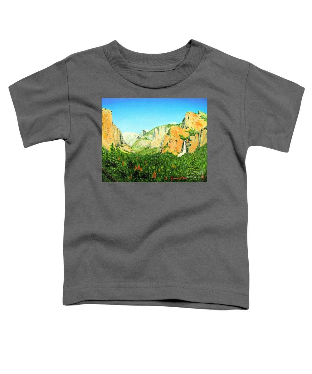 Yosemite National Park Toddler T-Shirt featuring the painting Yosemite National Park by Jerome Stumphauzer