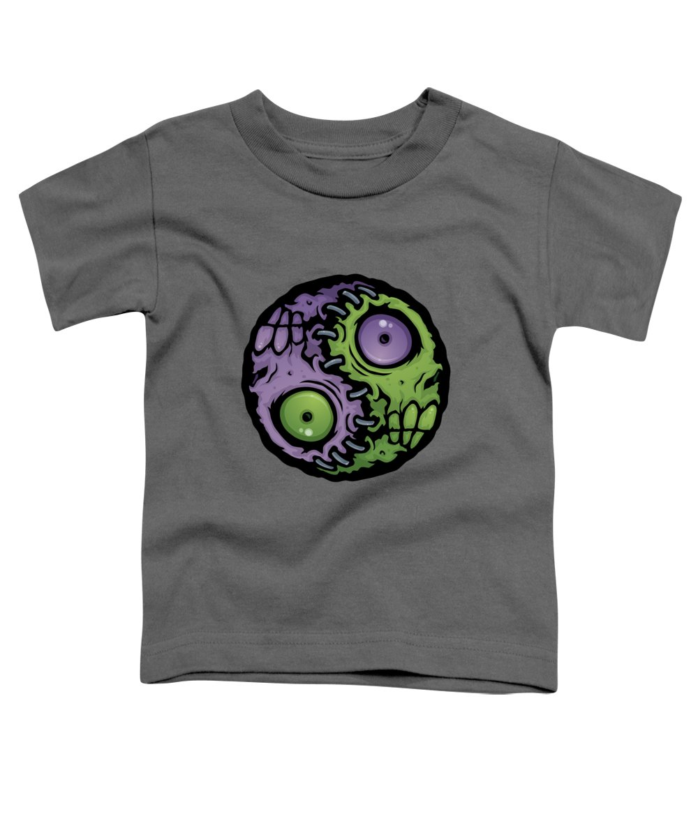 Zombie Toddler T-Shirt featuring the digital art Zombie Yin-Yang by John Schwegel