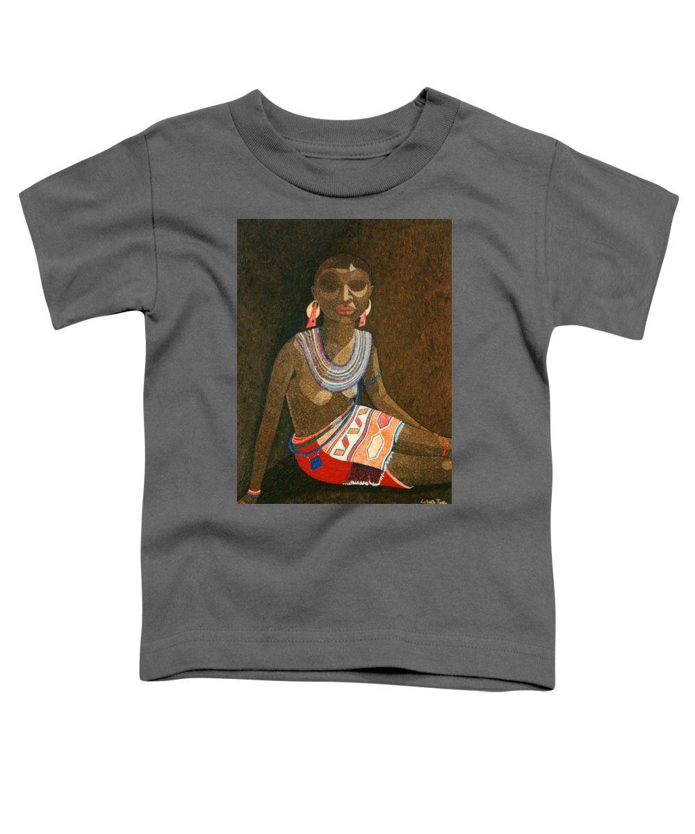 Zulu Woman Toddler T-Shirt featuring the painting Zulu Woman With Beads by Madalena Lobao-Tello