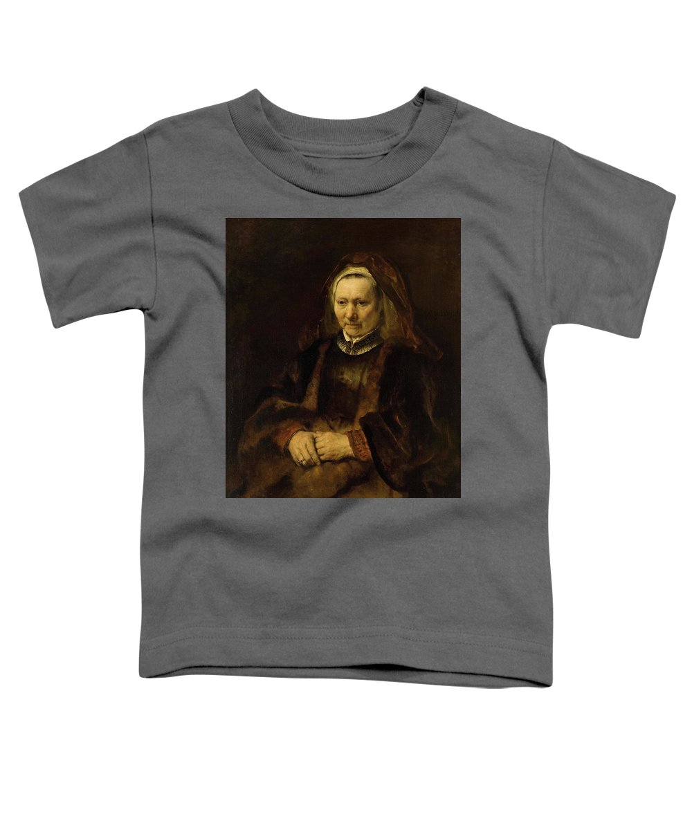Rembrandt Harmenszoon Van Rijn Toddler T-Shirt featuring the painting Portrait Of An Old Woman by Rembrandt