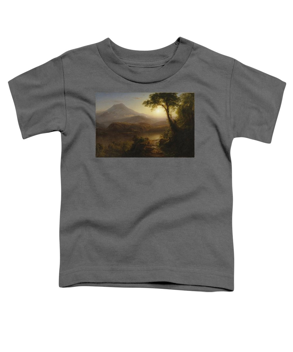 Tropical Scenery Toddler T-Shirt featuring the painting Tropical Scenery by Frederic Edwin Church