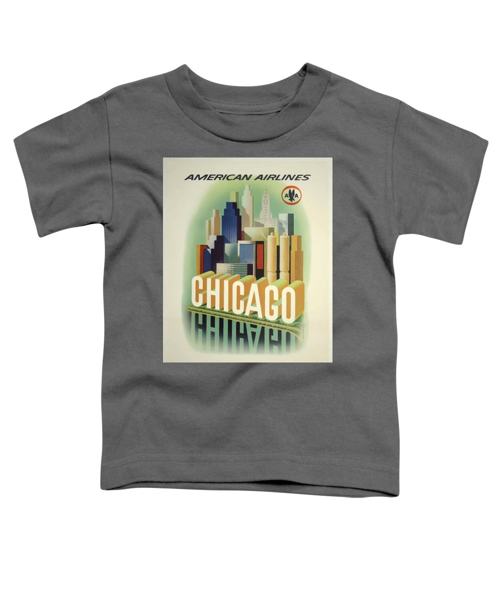 Chicago Toddler T-Shirt featuring the digital art Vintage Travel Poster by Esoterica Art Agency