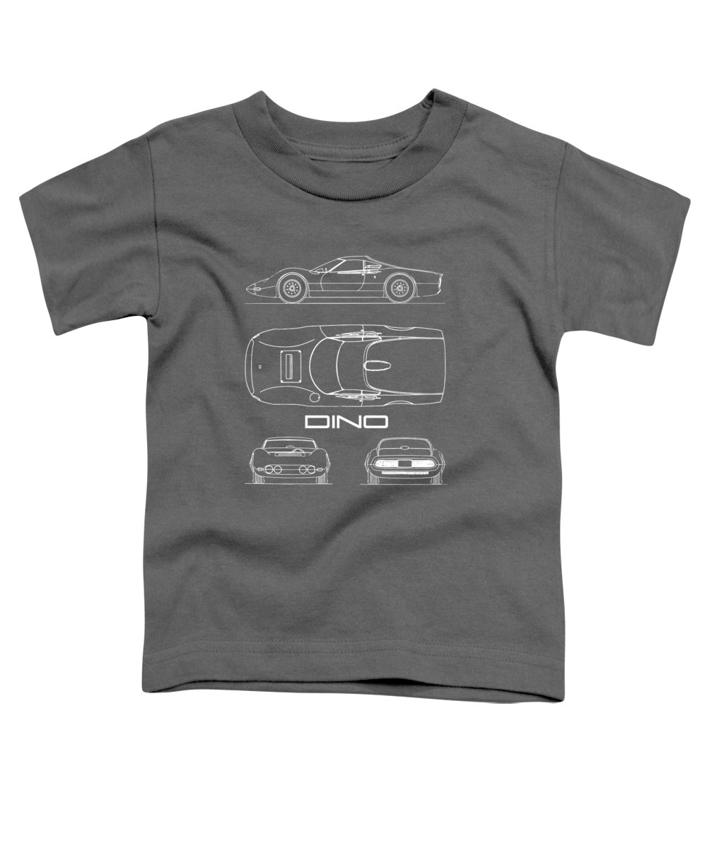 Ferrari Toddler T-Shirt featuring the photograph Blueprint Ferrari Dino 1965 by Mark Rogan