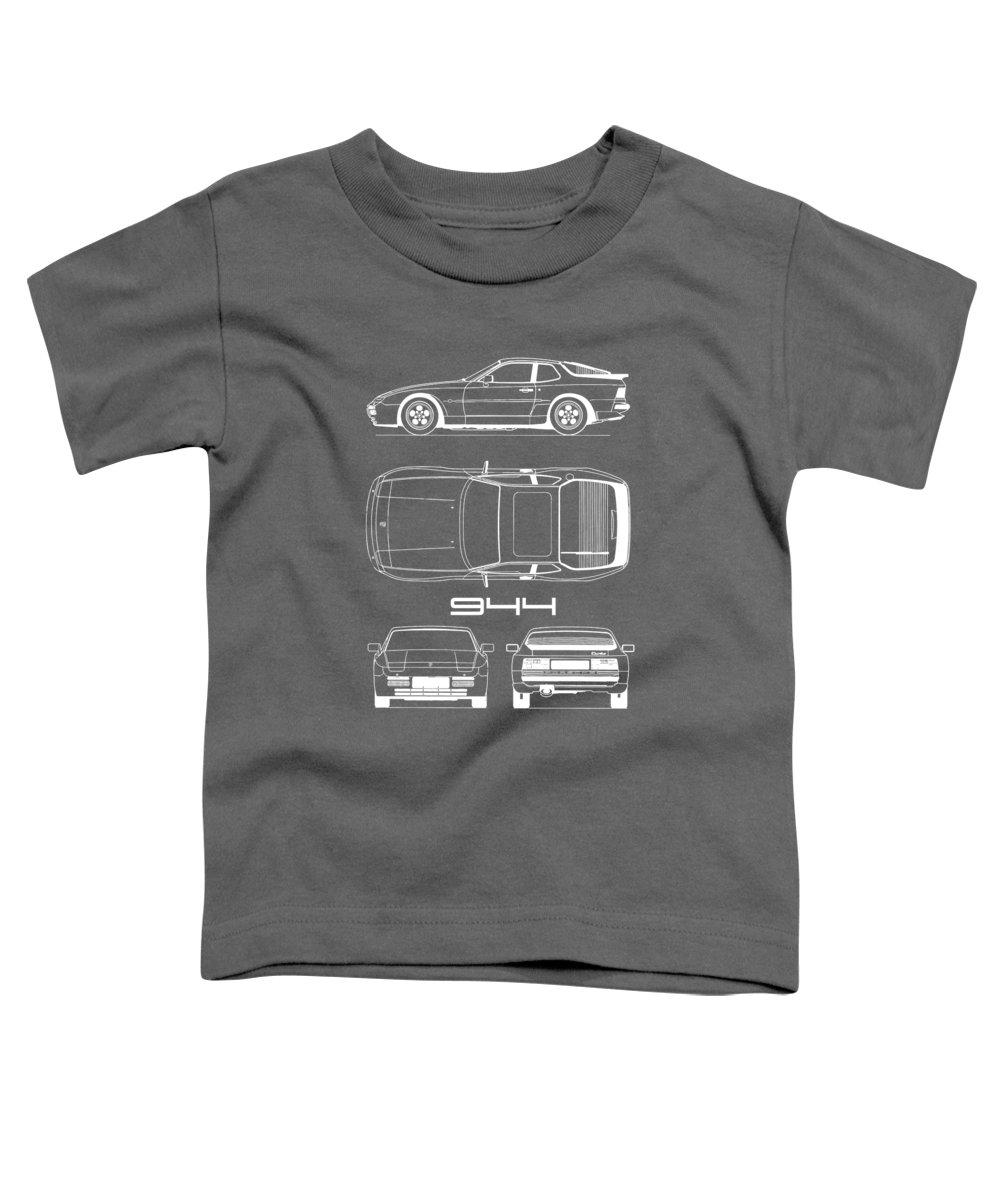 Porsche Toddler T-Shirt featuring the photograph Porsche 944 Blueprint by Mark Rogan