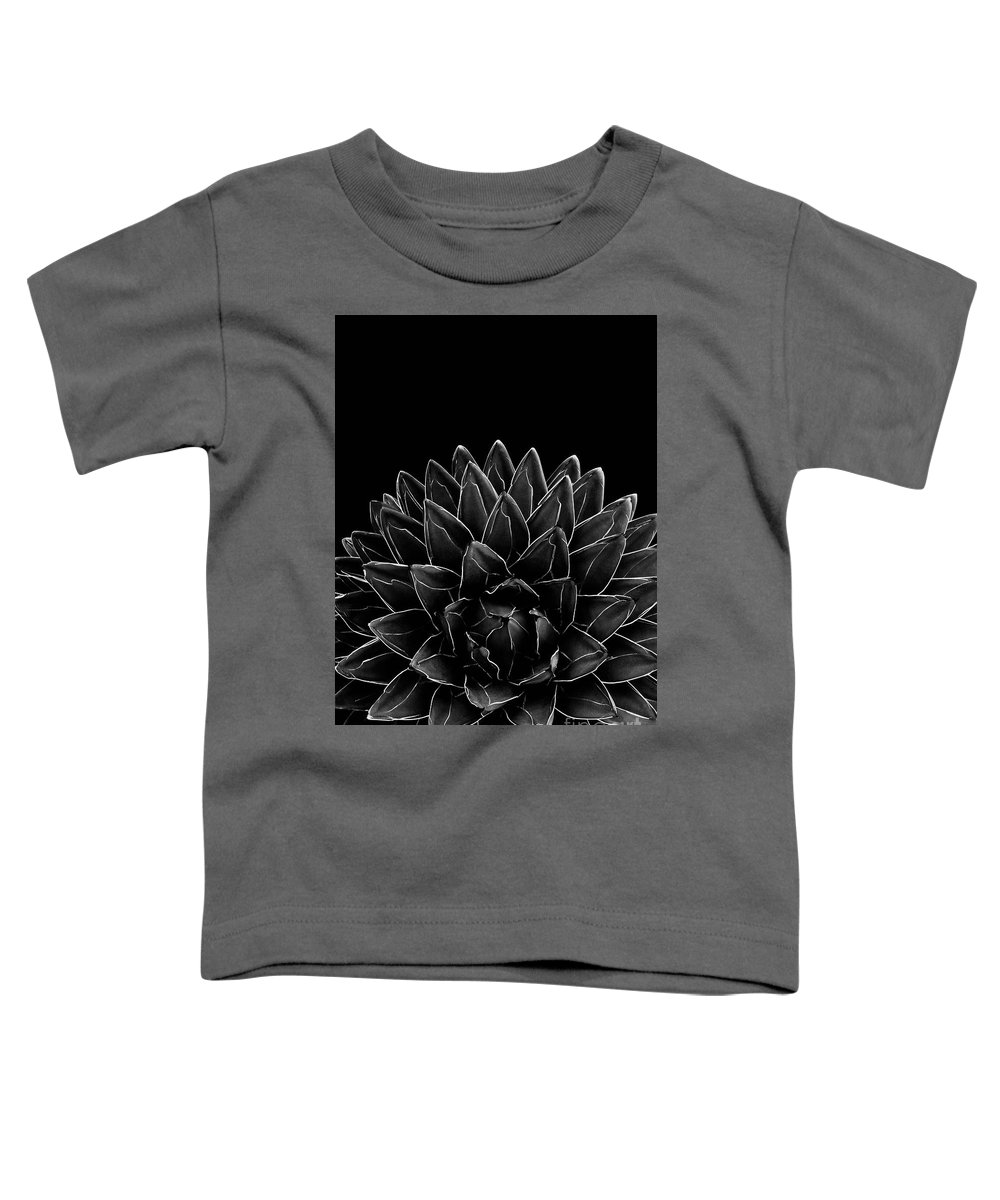 Black-and-white Toddler T-Shirt featuring the mixed media Black Agave Chic #1 #succulent #decor #art by Anitas and Bellas Art