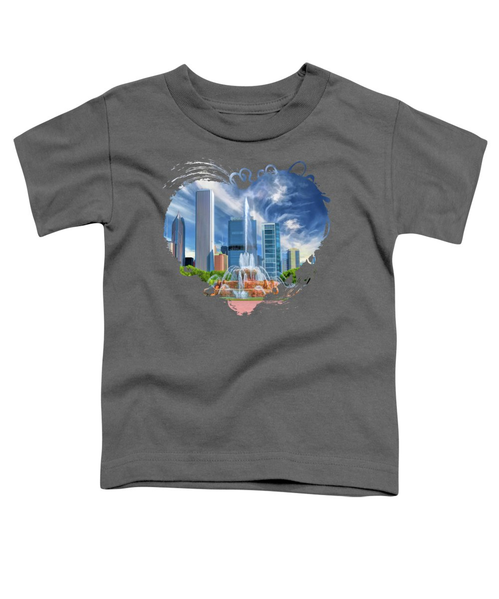 Buckingham Fountain Toddler T-Shirt featuring the photograph Buckingham Fountain Chicago Skyscrapers by Christopher Arndt