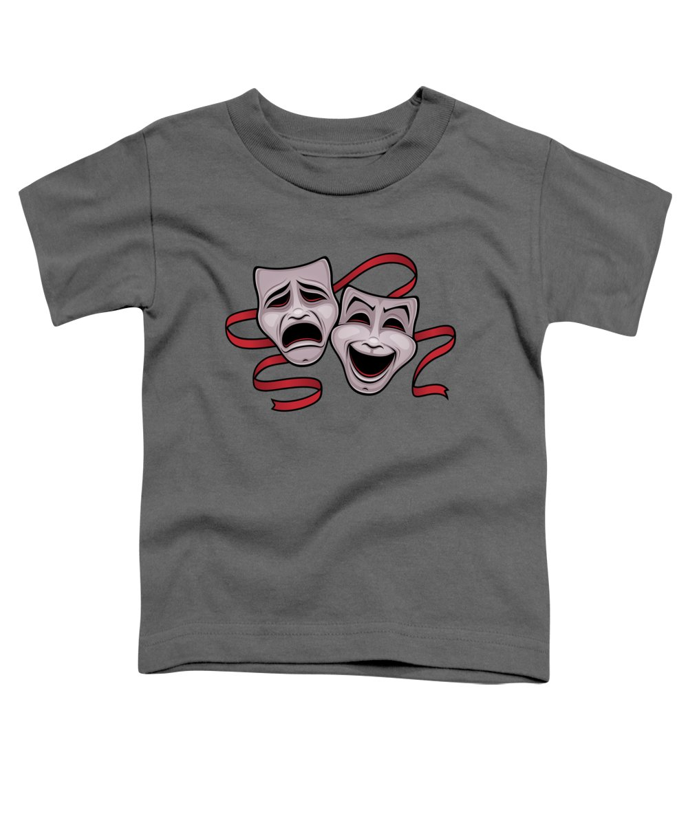 Acting Toddler T-Shirt featuring the digital art Comedy And Tragedy Theater Masks by John Schwegel