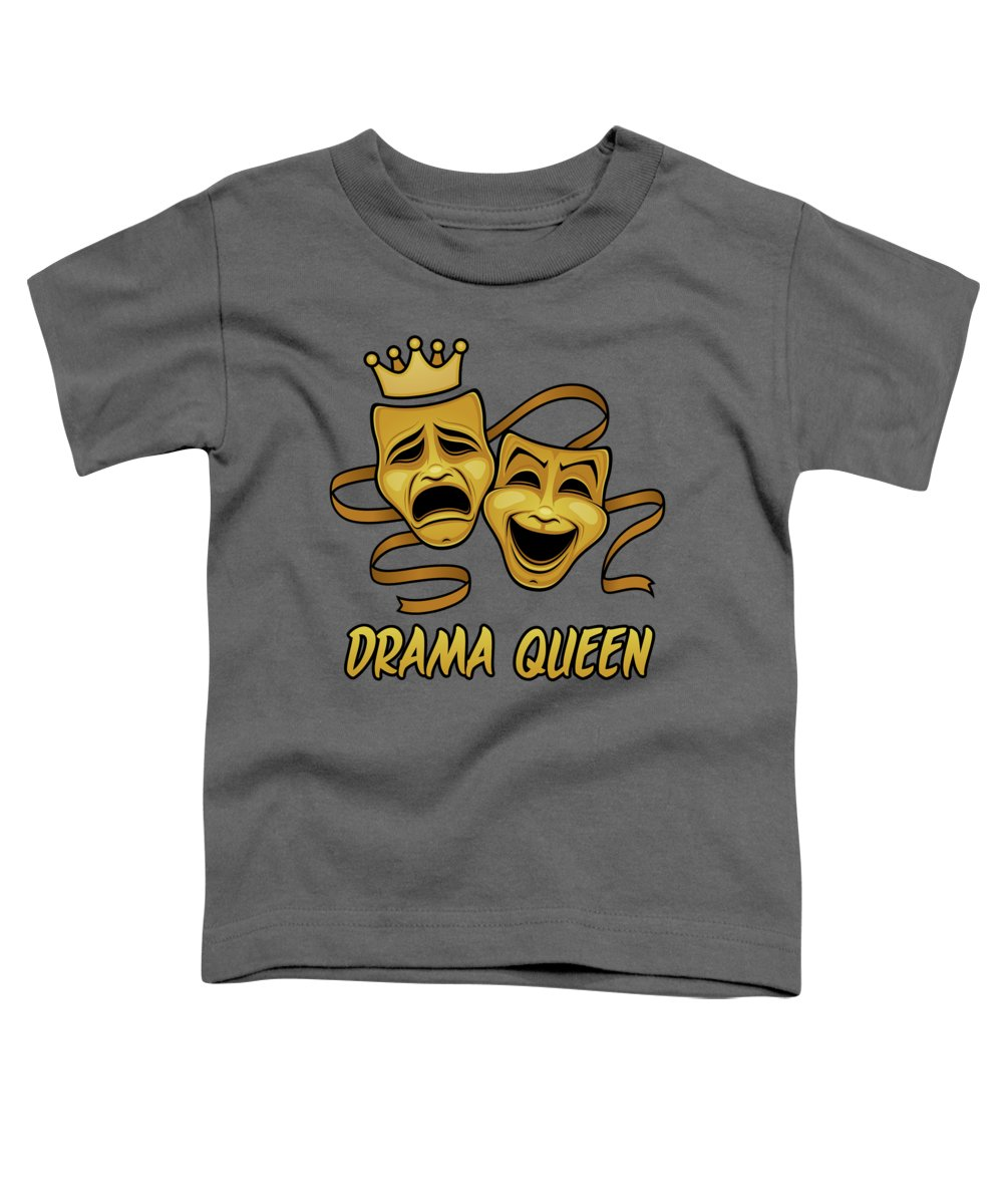 Acting Toddler T-Shirt featuring the digital art Drama Queen Comedy And Tragedy Gold Theater Masks by John Schwegel