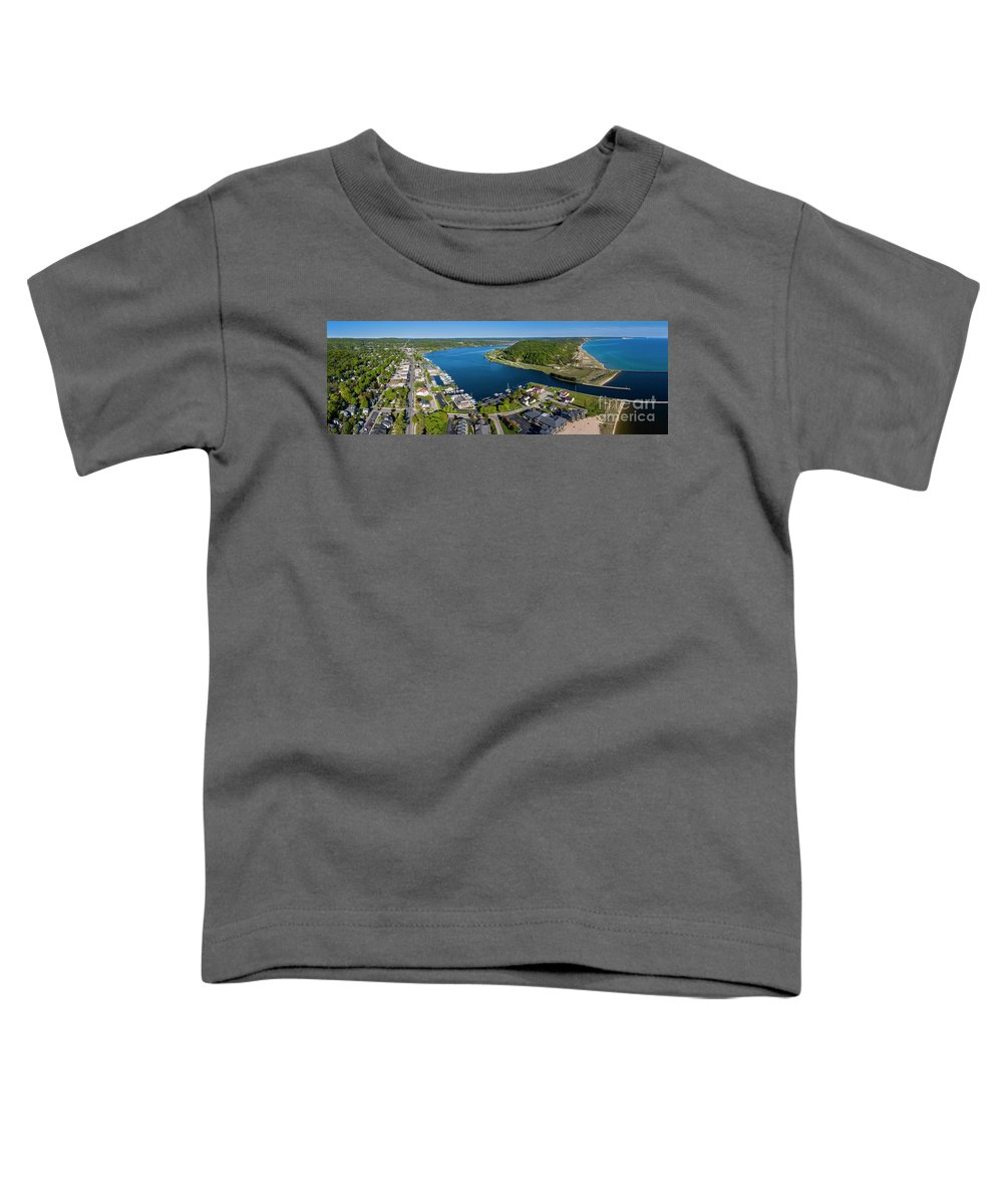 Frankfort Toddler T-Shirt featuring the photograph Frankfort And Elberta Aerial Panorama by Twenty Two North Photography