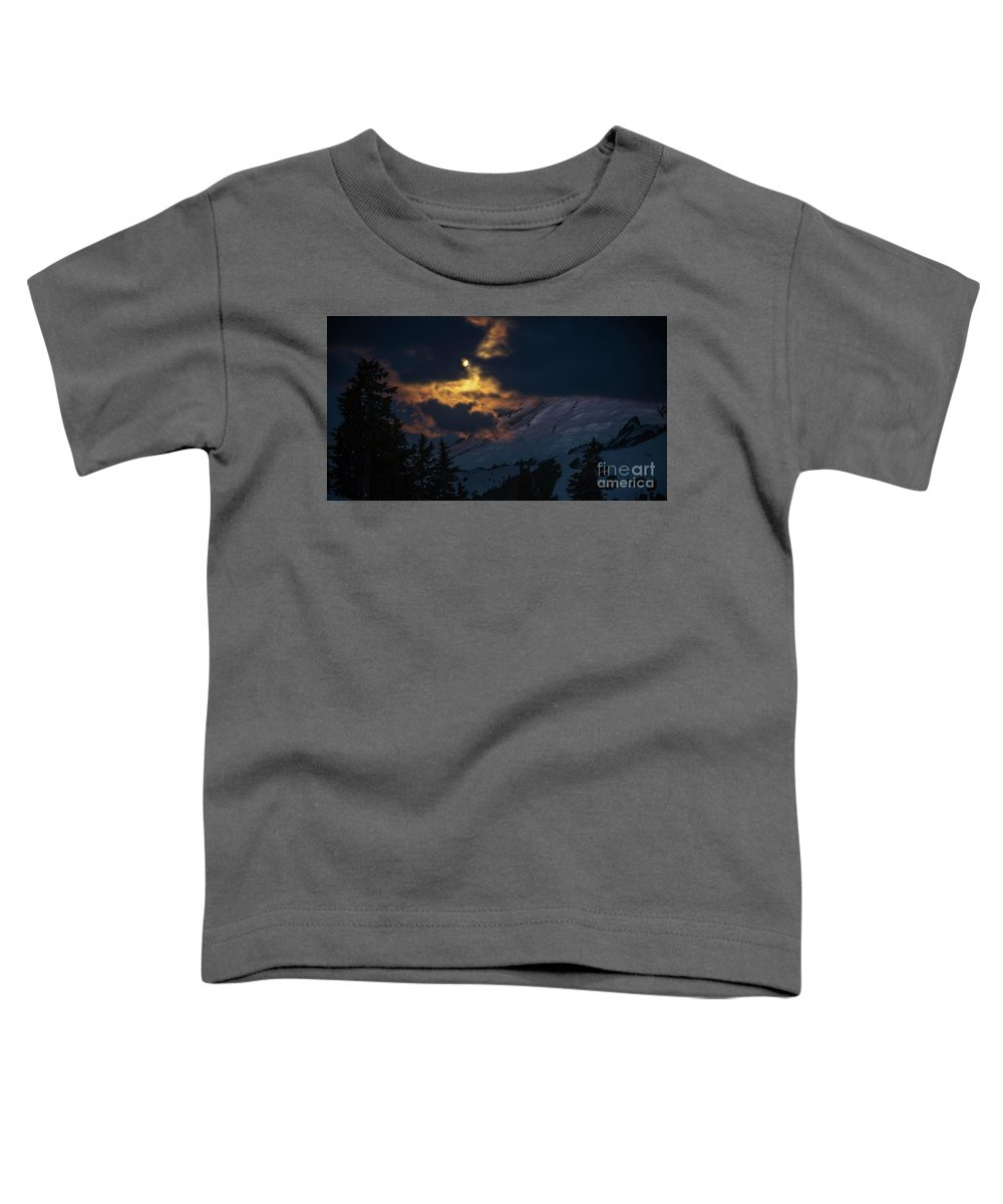 Moon Toddler T-Shirt featuring the photograph Full Moon Mount Baker Light by Mike Reid