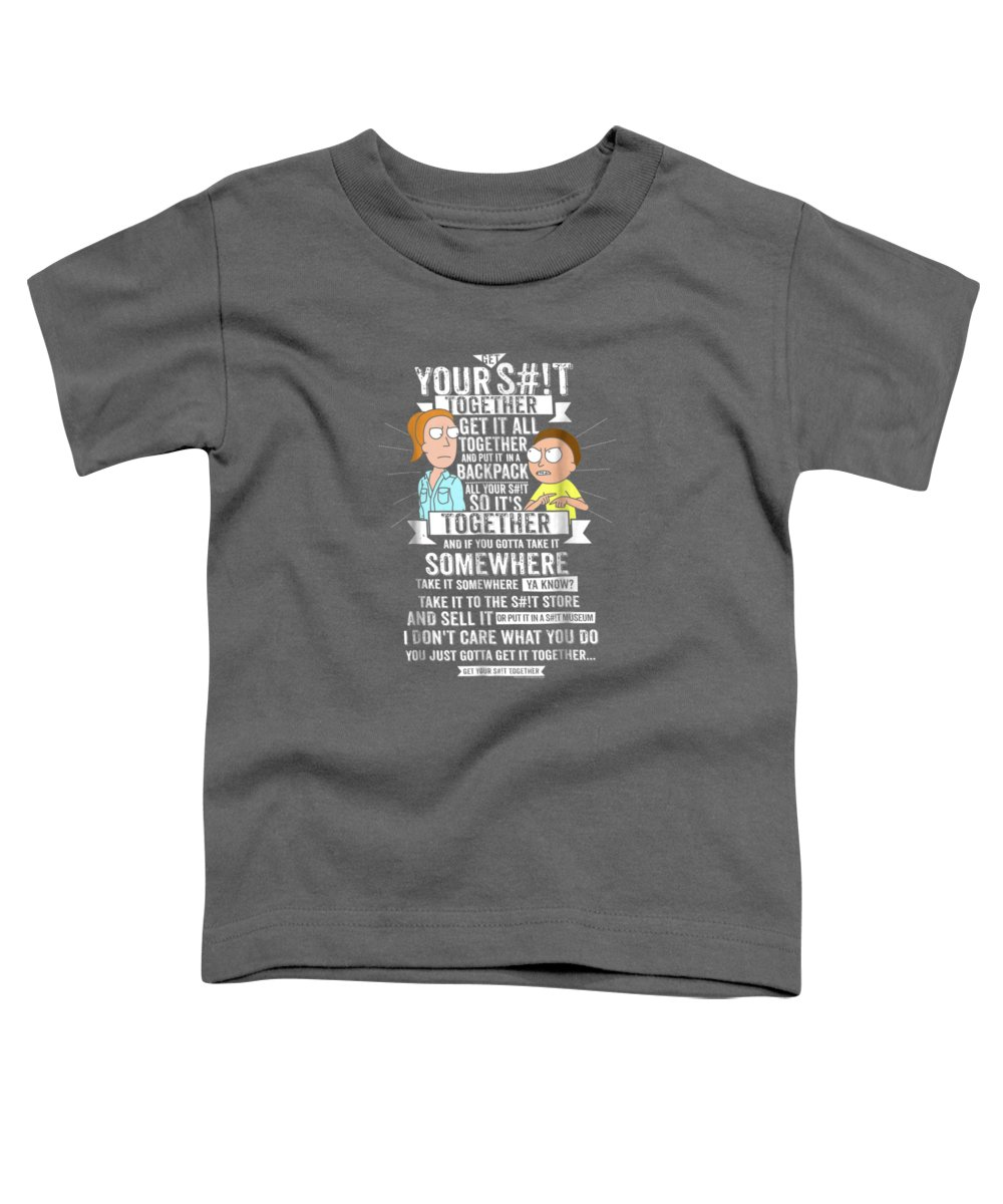 women's Shops Toddler T-Shirt featuring the digital art Get It Together - Rick And Morty by Unique Tees