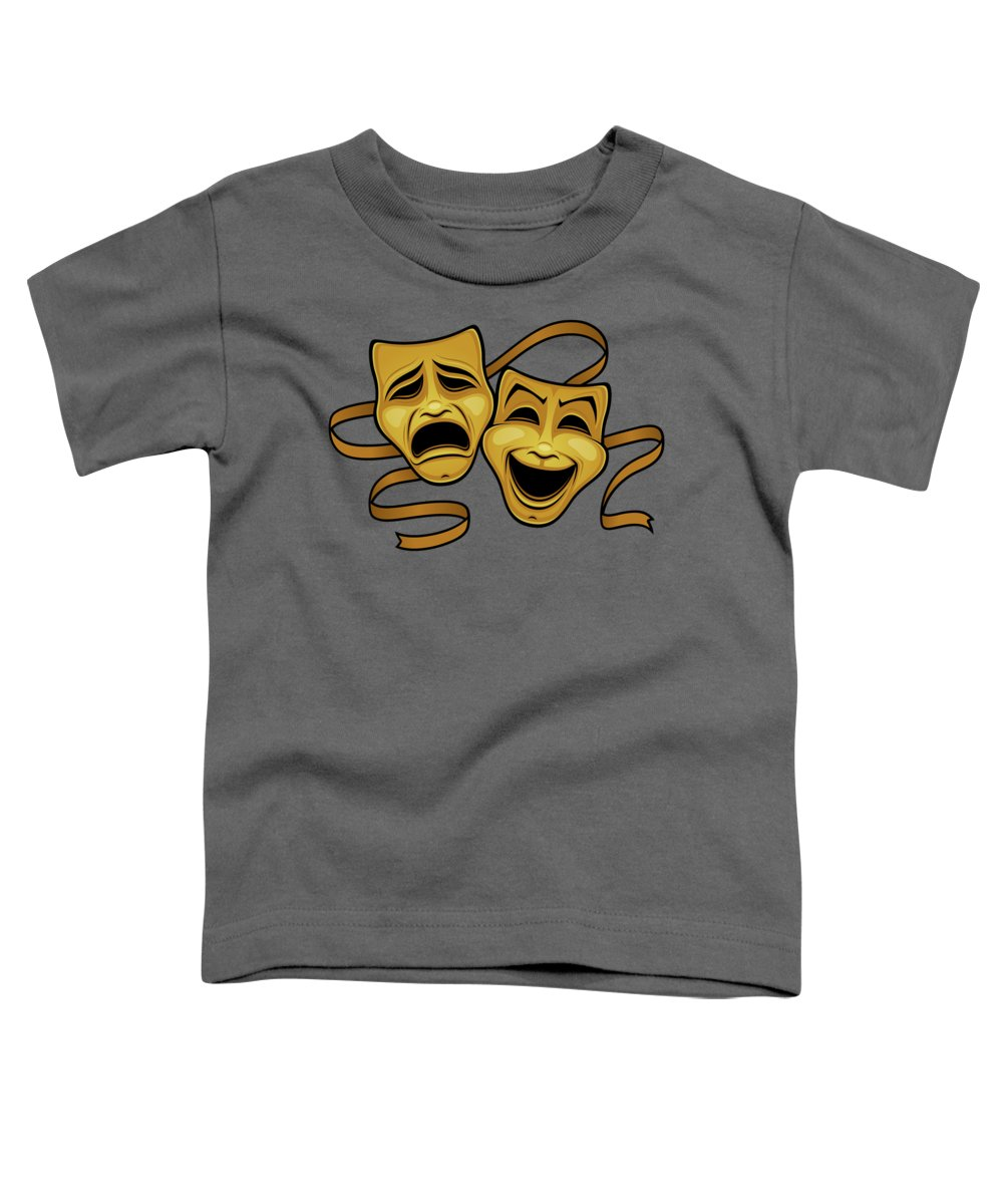 Acting Toddler T-Shirt featuring the photograph Gold Comedy And Tragedy Theater Masks by John Schwegel