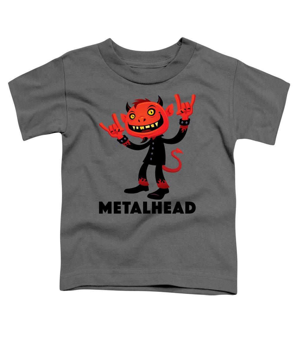Band Toddler T-Shirt featuring the digital art Heavy Metal Devil Metalhead by John Schwegel