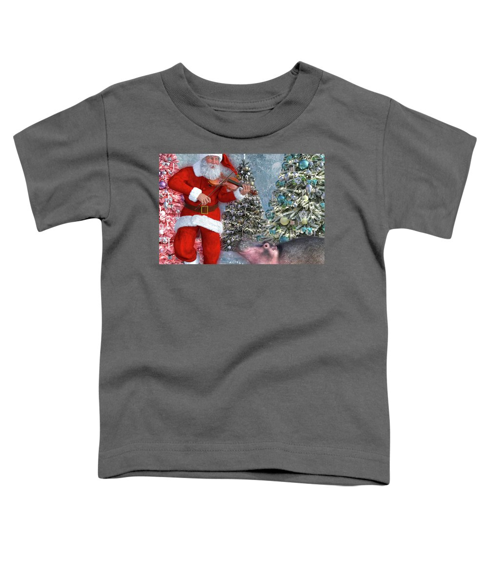 Hippo Toddler T-Shirt featuring the digital art Holiday Hippo Dancing Cheer by Betsy Knapp