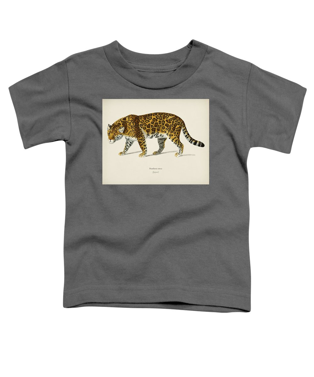 Animal Toddler T-Shirt featuring the painting Jaguar Panthera Onca Illustrated By Charles Dessalines D' Orbigny 1806-1876 by Celestial Images